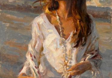 Portret de femeie cu colier de scoici. Portrete figurative. Portret la comanda