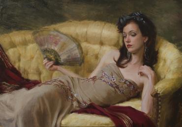 Portret de femeie cu evantai. Portrete figurative. Portret la comanda. Portret