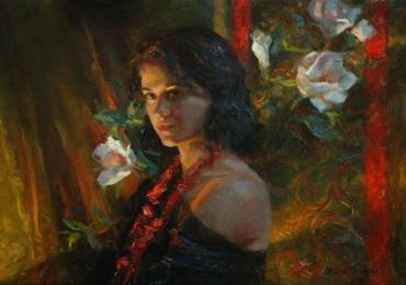 Portret de femeie cu magnolii. Portrete figurative. Portret la comanda.  Portret
