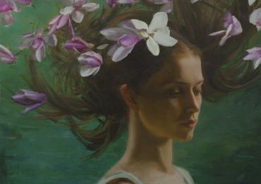 Portret de femeie cu orhidee . Portrete figurative. Portret la comanda. Portret