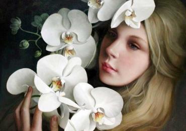 Portret de femeie cu orhidee albe. Portrete figurative. Portret la comanda.  Portret