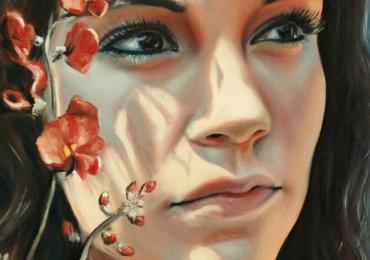 Portret de femeie cu orhidee.Portret la comanda dupa fotografia ta. Pret portret