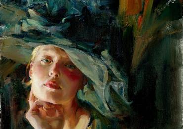 Portret de femeie cu palarie. Portrete figurative. Portret la comanda. portret bust