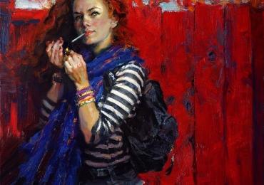 Portret de femeie cu parul de foc. Portrete figurative. Portret la comanda. portret