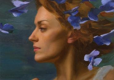 Portret de femeie cu petale de flori. Portrete figurative. Portret la comanda. Portret