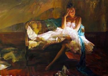 Portret de femeie cu rochie alba. Portret figurativ. Portret la comanda. Portret