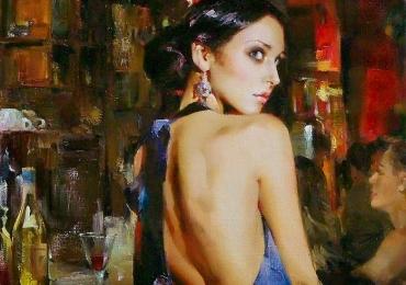Portret de femeie cu rochie de matase. Portrete figurative. Portret la comanda.