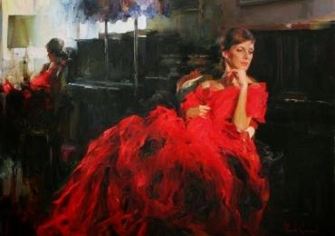 Portret de femeie cu rochie rosie. Portrete figurative. Portret la comanda. Portret