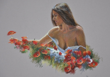 Portret de femeie cu sanii dezgoliti inconjurata de maci rosii. Portrete figurative.