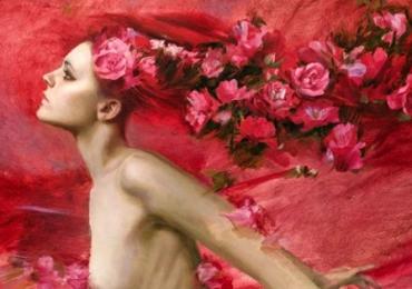 Portret de femeie cu trandafiri rosii. Portrete figurative. Portret la comanda. Portret
