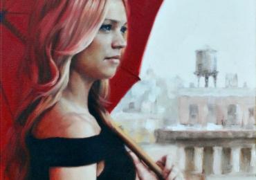 Portret de femeie cu umbrela rosie. Portrete figurative. Portret la comanda