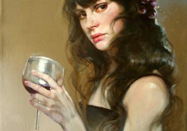 Portret de femeie cu un pahar de vin rosu. Portrete figurative. Portret la comanda