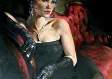 Portret de femeie eleganta si senzuala. Portrete figurative. Portret la comanda.