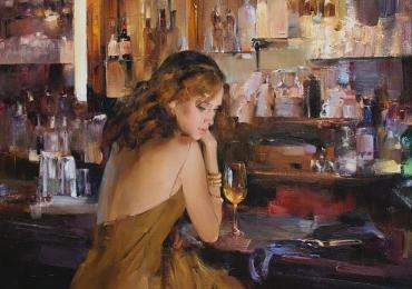 Portret de femeie in barul hotelului. Portret figurativ. Portret la comanda