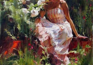 Portret de femeie in gradina cu flori. Portrete figurative. Portret la comanda