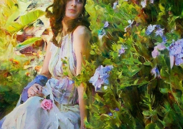 Portret de femeie in gradina cu flori. Portrete figurative. Portret la comanda.