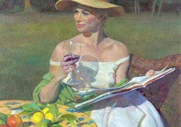 Portret de femeie in gradina de vara. Portrete figurative. Portret la comanda.