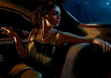 Portret de femeie  in masina. Portrete figurative. Portret la comanda. Portret pictat