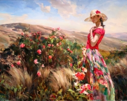 Portret de femeie in peisaj cu flori. Portrete figurative. Portret la comanda.