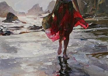 Portret de femeie in peisaj marin la apus de soare. Portrete figurative