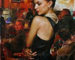Portret de femeie in restaurant. Portrete figurative. Portret la comanda