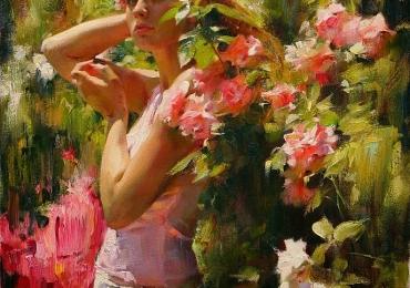 Portret de femeie inconjurata de flori de gradina. Portret la comanda