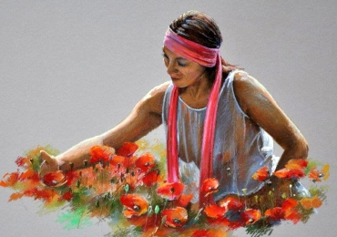 Portret de femeie inconjurata de maci rosii. Portret la comanda.