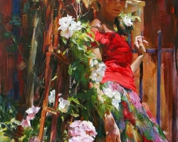 Portret de femeie inconjurata de un peisaj floral. Portrete figurative. Portret