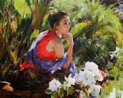 Portret de femeie inre-un peisaj de vara. Portret la comanda.