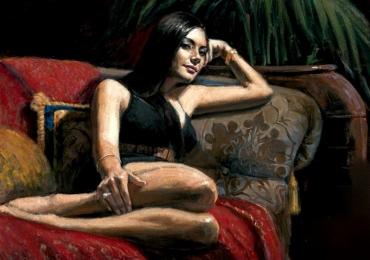 Portret de femeie intinsa pe canapea, tablou pictat manual in ulei pe panza