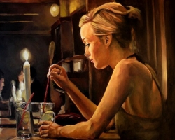 Portret de femeie la lumina lumanarii. Portrete figurative. Portret la comanda.