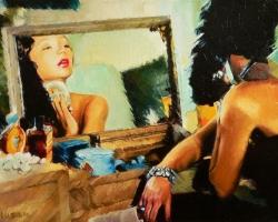 Portret de femeie la masa de machiaj. Portrete personalizate la comanda