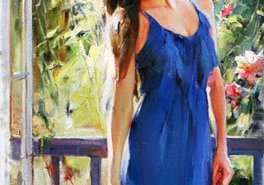 Portret de femeie pe terasa. Portrete figurative. Portret la comanda corp