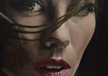 Portret de femeie pictat in ulei pe panza