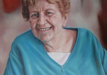Portret de femeie, portret de sotie,  Idei de cadouri pentru bunici, portrete la comanda, Tablou pictat dupa poza