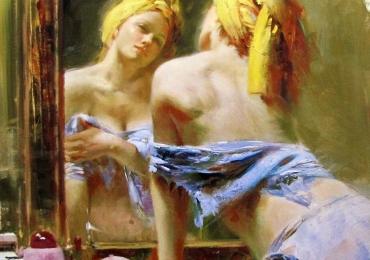 Portret de femeie privind in oglinda. Portrete figurative. Portret la comanda.