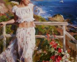 Portret de femeie privind marea. Portrete figurative. Portret la comanda.