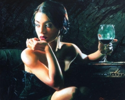 Portret de femeie savurand un pahar de vin. Portret la comanda