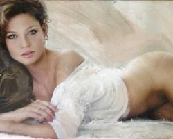 Portret de femeie seminud. Portrete figurative. Portret bust ulei pe panza