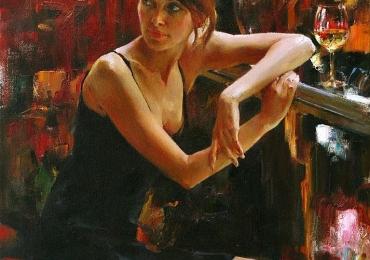 Portret de femeie servind un pahar de vin alb. Portret la comanda