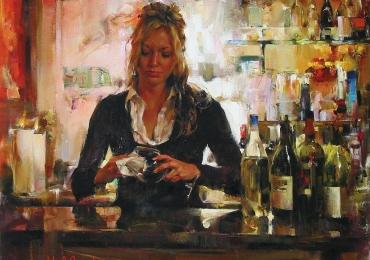 Portret de femeie. Barmanita. Portret la comanda. Portret pictat.
