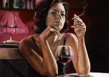 Portret de femeie. O seara la bar. Portrete figurative. Portret la comanda.