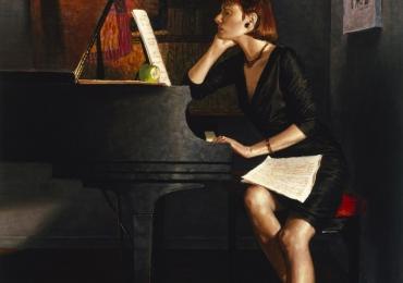 Portret de femeie. Pianista. Portret la comanda. Portret pictat ulei pe panza