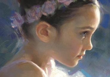 Portret de fetita cu coronita de flori  la comanda pictat manual in ulei pe panza