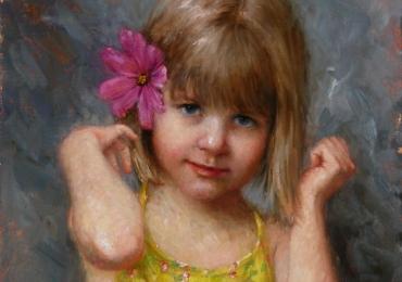 Portret de fetita cu floare in par la comanda pictat manual in ulei pe panza