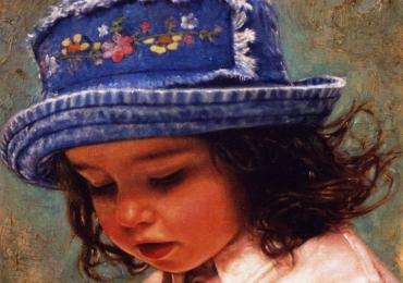 Portret de fetita cu palarie, tablou la comanda, pictat manual