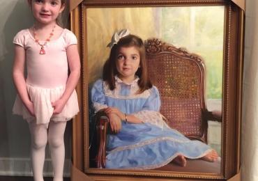 Portret de fetita cu rochita albastra, Handmade cadouri craciun, portrete la comanda, Tablouri pictate manual pe panza