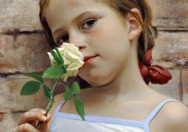 Portret de fetita pictat manual in ulei pe panza, pret manopera pictura