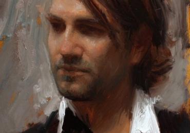 Portret de frate pictat manual in ulei pe panza, portret de barbat
