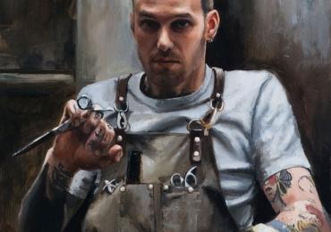 Portret de hair stilist. Portret de barbat. Portrete pictate manual in ulei pe panza